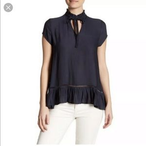 Ro & De navy pleated popover blouse, size small
